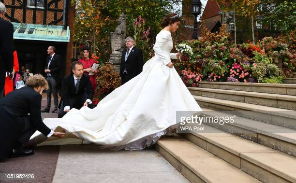 Princess Eugenie arrives for her wedding to Jack Brooksbank at St George's Chapel in Windsor Castle on October 12 2018 in Windsor England