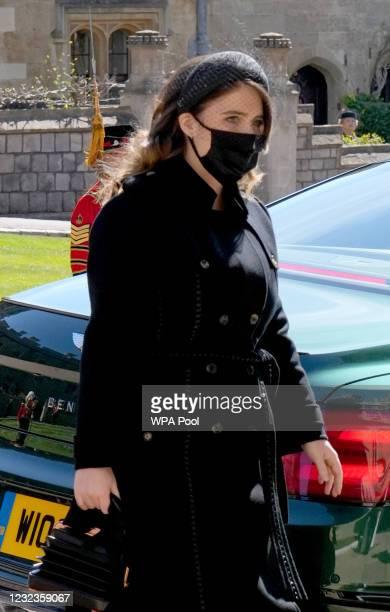 Princess Eugenie arrives for the funeral of Prince Philip, Duke of Edinburgh at St George's Chapel at Windsor Castle on April 17, 2021 in Windsor,...
