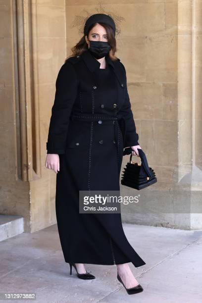 Princess Eugenie arrives for the funeral of Prince Philip, Duke of Edinburgh at Windsor Castle on April 17, 2021 in Windsor, England. Prince Philip...