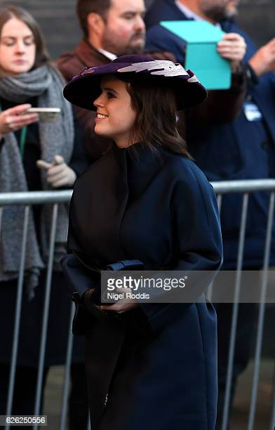 Princess Eugenie arrives for the memorial service of The Duke of Westminster at Chester Cathedral on November 28 2016 in Chester England The Duke is...