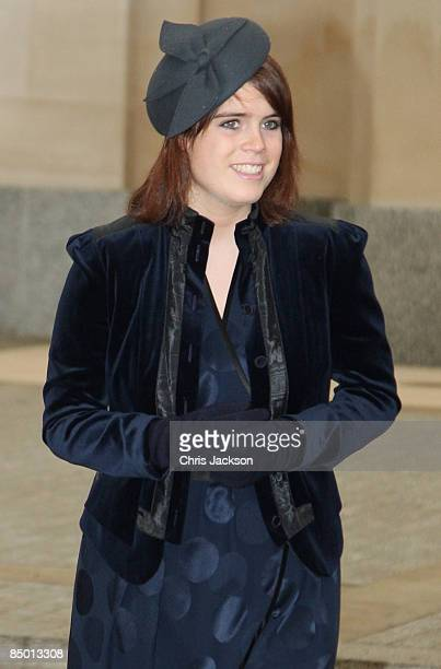 Princess Eugenie arrives for the unveiling of a new statue of Queen Elizabeth, the Queen Mother on the Mall on February 24, 2009 in London, England....