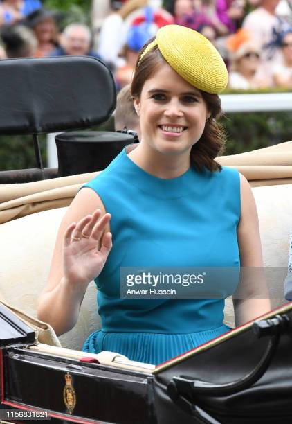Princess Eugenie arrives in an open carriage to attend day one of Royal Ascot on June 18, 2019 in Ascot, England.