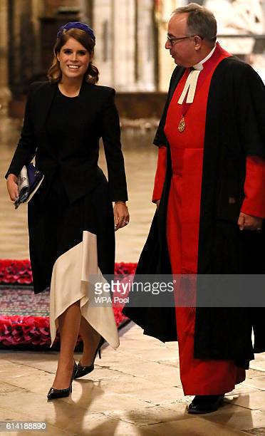 Princess Eugenie arrives to meet The Very Reverend Dr John Hall Dean of Westminster to attend a service to commemorate the work of William...