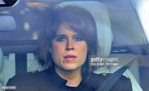Princess Eugenie arriving for the Queen's Christmas lunch at Buckingham Palace London