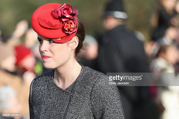 Princess Eugenie attends a Christmas Day church service at Sandringham on December 25 2016 in King's Lynn England