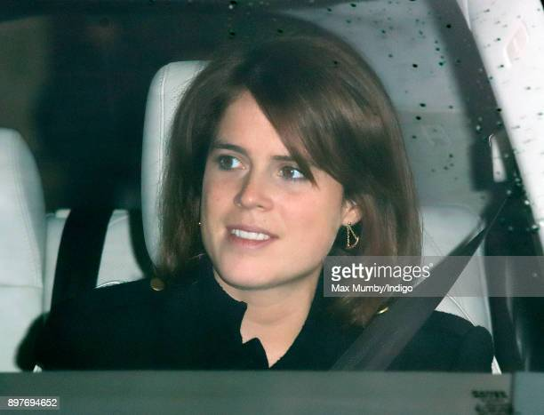 Princess Eugenie attends a Christmas lunch for members of the Royal Family hosted by Queen Elizabeth II at Buckingham Palace on December 20 2017 in...