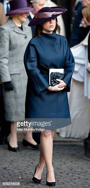 Princess Eugenie attends a Memorial Service for Gerald Grosvenor 6th Duke of Westminster at Chester Cathedral on November 28 2016 in Chester England...