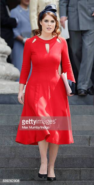 Princess Eugenie attends a national service of thanksgiving to mark Queen Elizabeth II's 90th birthday at St Paul's Cathedral on June 10, 2016 in...