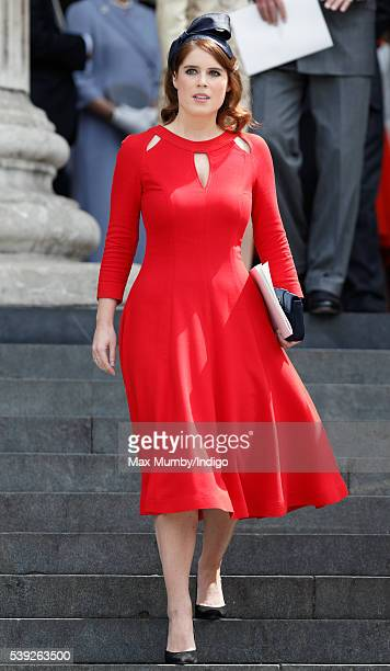 Princess Eugenie attends a national service of thanksgiving to mark Queen Elizabeth II's 90th birthday at St Paul's Cathedral on June 10 2016 in...