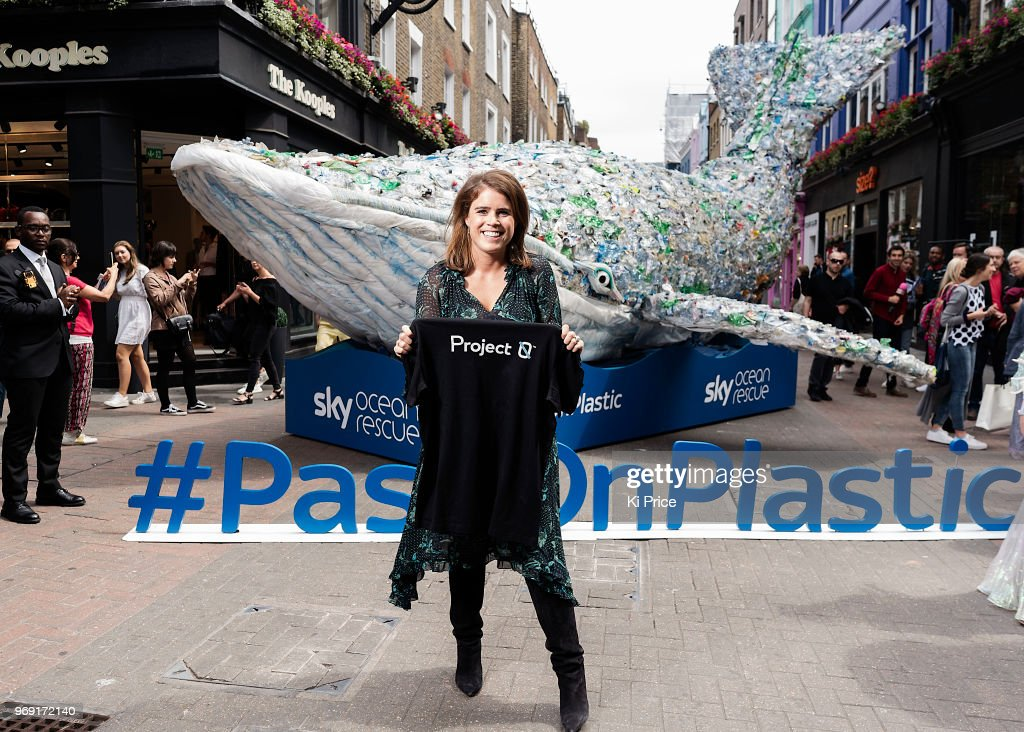 Princess Eugenie attends a photocall on Carnaby street for the launch of 'Pass on Plastic', an exclusive pop up from Project 0 and Sky Ocean Rescue. The ocean experience that opens from June 8-24 at 20 Beak Street, London on June 6, 2018 in London, England.