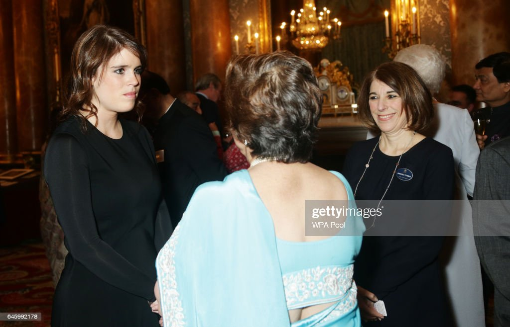 Princess Eugenie (L) attends a reception to mark the launch of the UK-India Year of Culture 2017 on February 27, 2017 in London, England.