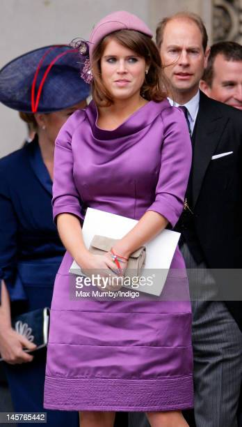 Princess Eugenie attends a Service of Thanksgiving to celebrate Queen Elizabeth II's Diamond Jubilee at St Paul's Cathedral on June 5 2012 in London...