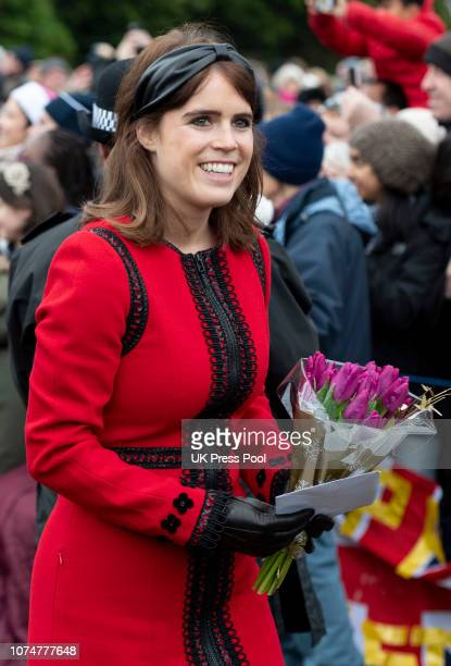 Princess Eugenie attends Christmas Day Church service at Church of St Mary Magdalene on the Sandringham estate on December 25 2018 in King's Lynn...