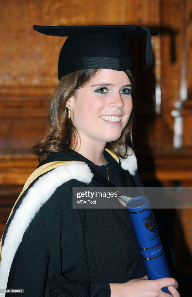 Princess Eugenie attends her graduation ceremony at Newcastle University on July 11, 2012 In Newcastle, United Kingdom. Princess Eugenie was awarded her 2:1 combined degree in English and history of art in the King's hall infront of fellow students and their families. The ceremony was also attended by Prince Andrew, Duke of York and Princess Beatrice.