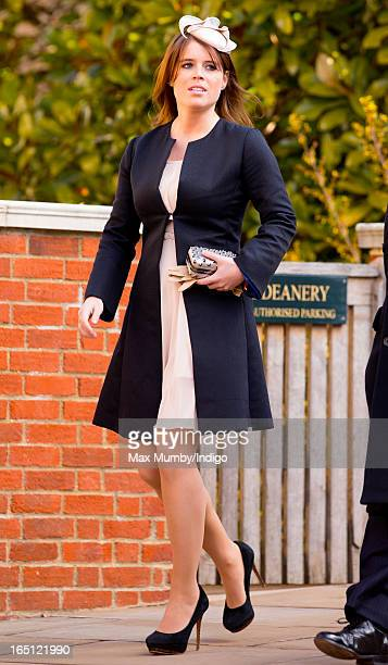 Princess Eugenie attends the Easter Matins Church Service at St George's Chapel Windsor Castle on March 31 2013 in Windsor England