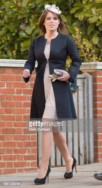 Princess Eugenie attends The Easter Matins Service at Windsor Castle on March 31 2013 in Windsor England
