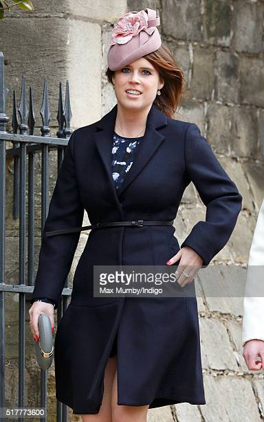 Princess Eugenie attends the traditional Easter Sunday church service at St George's Chapel Windsor Castle on March 27 2016 in Windsor England
