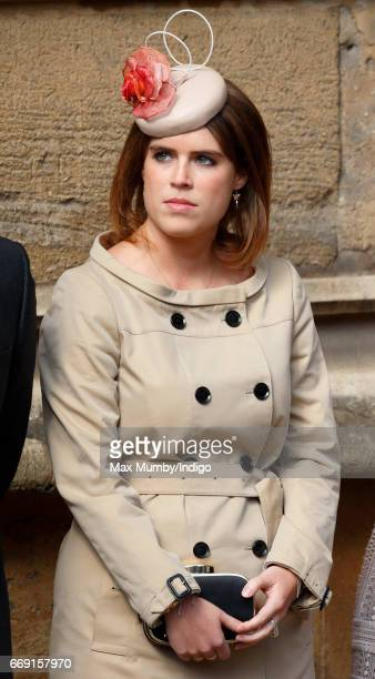 Princess Eugenie attends the traditional Easter Sunday church service at St George's Chapel Windsor Castle on April 16 2017 in Windsor England