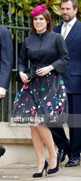 Princess Eugenie attends the traditional Easter Sunday church service at St George's Chapel Windsor Castle on April 1 2018 in Windsor England
