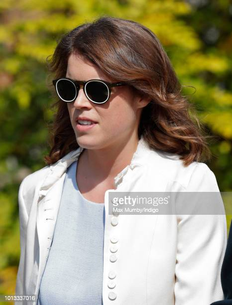 Princess Eugenie attends the wedding of Charlie van Straubenzee and Daisy Jenks at the church of St Mary the Virgin on August 4 2018 in Frensham...