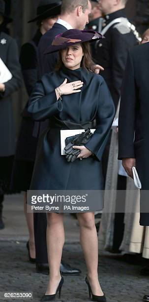 Princess Eugenie leaves after a memorial service to celebrate the life of the sixth Duke of Westminster at Chester Cathedral Chester