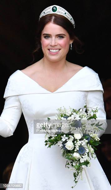 Princess Eugenie leaves St George's Chapel following her and Jack Brooksbank's wedding ceremony on October 12, 2018 in Windsor, England.