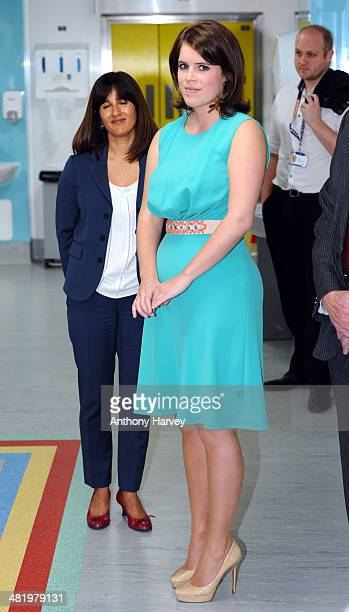 Princess Eugenie meets staff and patients during a visit to Royal National Orthopaedic Hospital on April 2 2014 in Stanmore Greater London England