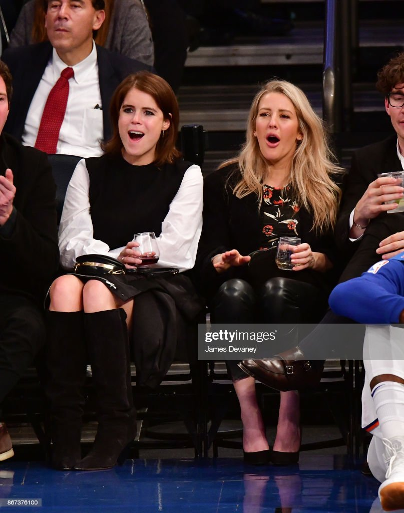 Princess Eugenie of York and Ellie Goulding attend the Brooklyn Nets Vs New York Knicks game at Madison Square Garden on October 27, 2017 in New York City.
