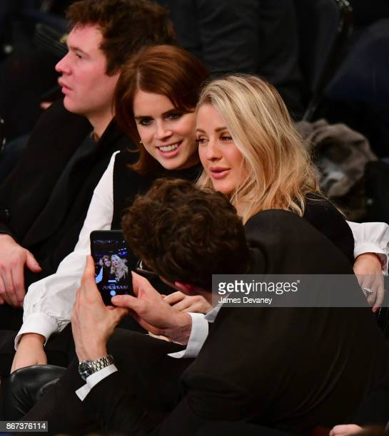 Princess Eugenie of York and Ellie Goulding attend the Brooklyn Nets Vs New York Knicks game at Madison Square Garden on October 27 2017 in New York...