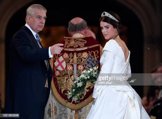 Princess Eugenie of York and her father Prince Andrew Duke of York arrive ahead of the wedding of Princess Eugenie of York and Mr Jack Brooksbank at...