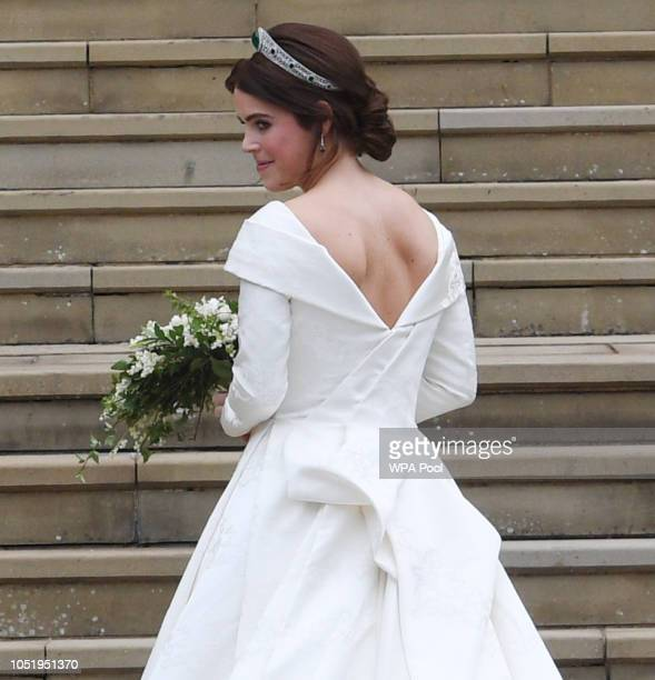 Princess Eugenie of York and her father Prince Andrew Duke of York arrive for the wedding of Princess Eugenie of York to Jack Brooksbank at St...