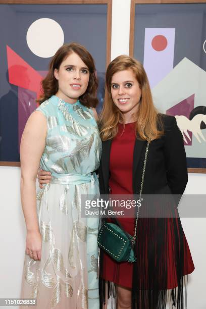 Princess Eugenie of York and HRH Princess Beatrice of York at the Animal Ball Art Show Private Viewing presented by Elephant Family on May 22 2019 in...