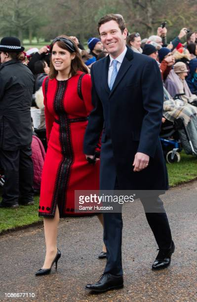 Princess Eugenie of York and Jack Brooksbank attend Christmas Day Church service at Church of St Mary Magdalene on the Sandringham estate on December...