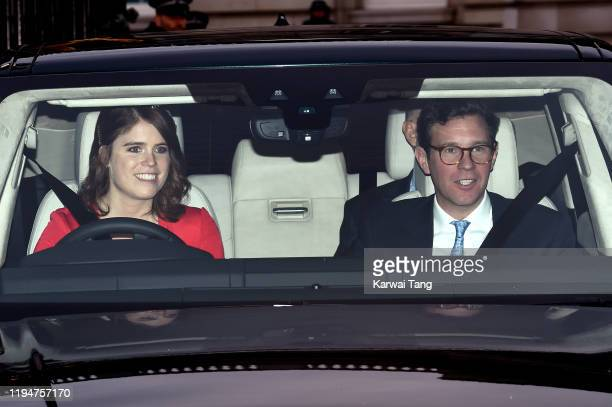 Princess Eugenie of York and Jack Brooksbank attend Christmas Lunch at Buckingham Palace on December 18, 2019 in London, England.