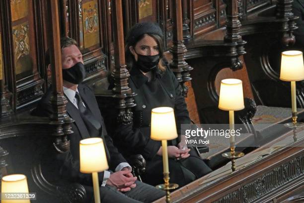 Princess Eugenie of York and Jack Brooksbank attend the funeral of Prince Philip, Duke of Edinburgh, at St George's Chapel at Windsor Castle on April...