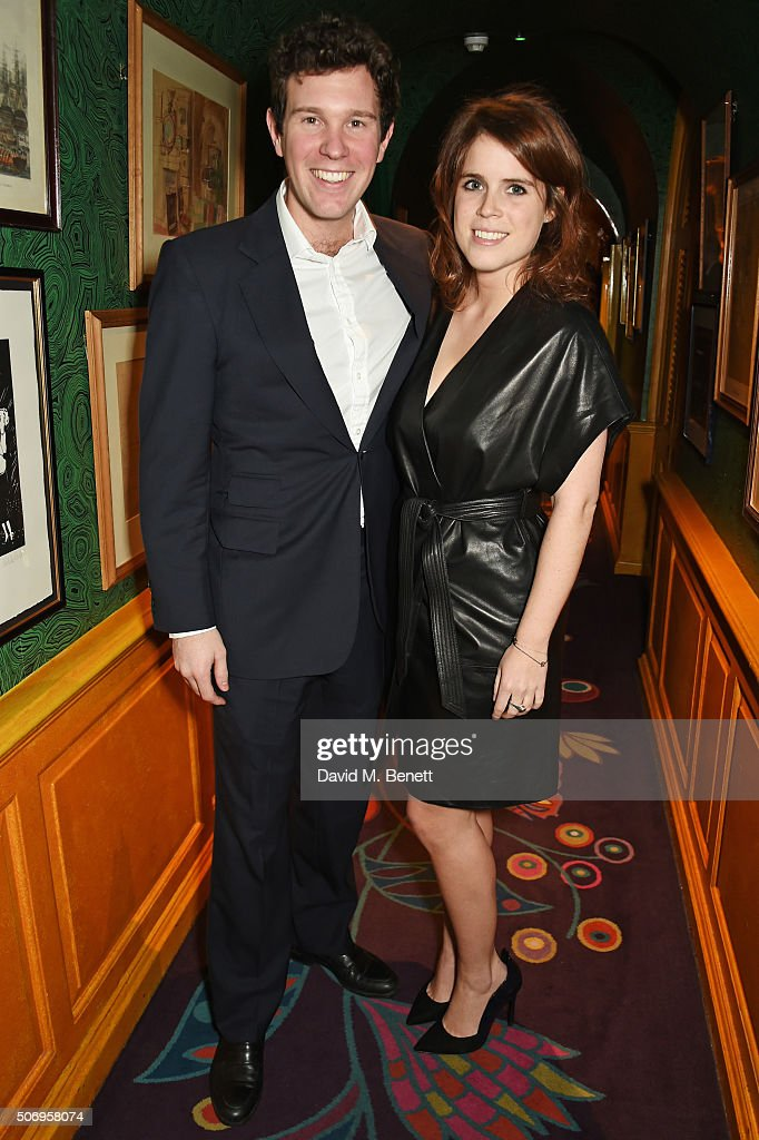 Princess Eugenie of York (R) and Jack Brooksbank attend the launch of GP Nutrition Supplements, a collection of five premium nutritional programmes perfect for modern living, at Annabels on January 26, 2016 in London, England.