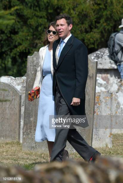 Princess Eugenie of York and Jack Brooksbank attend the wedding of Daisy Jenks and Charlie Van Straubenzee at Saint Mary The Virgin Church on August...