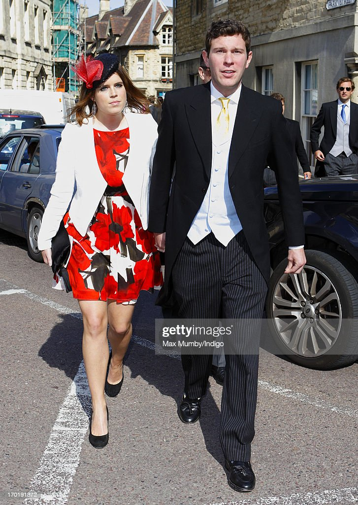 Princess Eugenie of York and Jack Brooksbank attend the wedding of Lady Natasha Rufus Isaacs and Rupert Finch at the church of St John the Baptist on June 8, 2013 in Cirencester, England.