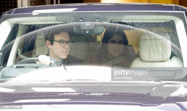 Princess Eugenie of York and Jack Brooksbank depart the Portland Hospital with their new baby son on February 12, 2021 in London, England. Princess...
