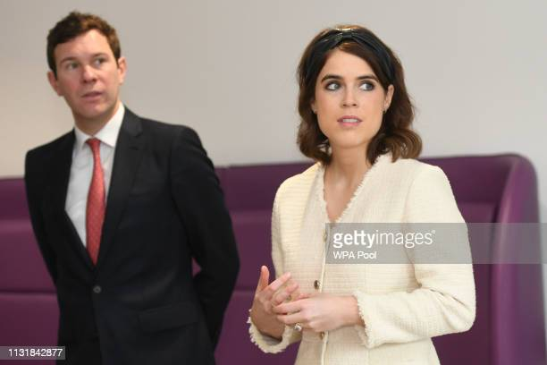Princess Eugenie of York and Jack Brooksbank during a visit to the Royal National Orthopaedic Hospital to open the new Stanmore Building on March 21,...