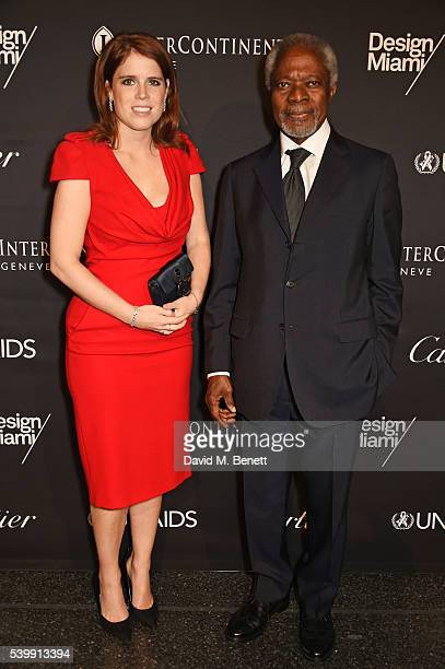 Princess Eugenie of York and Kofi Annan attend the UNAIDS Gala during Art Basel 2016 at Design Miami/ Basel on June 13 2016 in Basel Switzerland