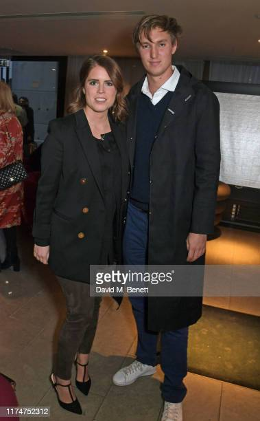 """Princess Eugenie of York and Lucas Zwirner attend a special screening of """"American Woman"""" at The Curzon Bloomsbury on October 9, 2019 in London,..."""