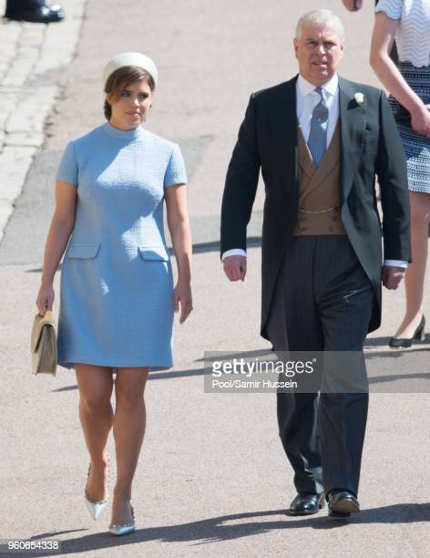 Princess Eugenie of York and Prince Andrew Duke of York attend wedding of Prince Harry to Ms Meghan Markle at St George's Chapel Windsor Castle on...