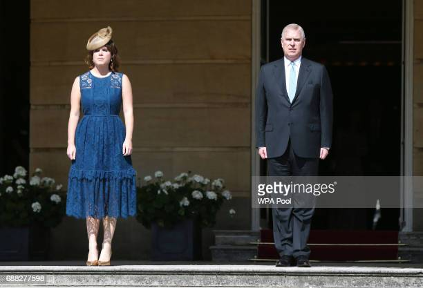 Princess Eugenie of York and Prince Andrew Duke of York attend the Royal Society for the Prevention of Accidents Centenary Garden Party on May 25...