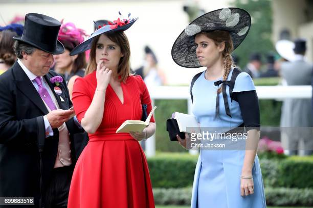 Princess Eugenie of York and Princess Beatrice of York are seen in the Parade Ring as she attends Royal Ascot 2017 at Ascot Racecourse on June 22...