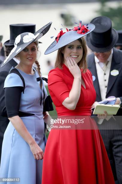 Princess Eugenie of York and Princess Beatrice of York are seen in the Parade Ring as she attends Royal Ascot 2017 at Ascot Racecourse on June 22,...