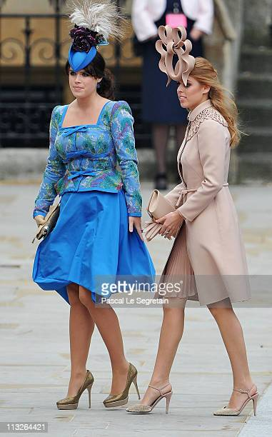 Princess Eugenie of York and Princess Beatrice of York arrive to attend the Royal Wedding of Prince William to Catherine Middleton at Westminster...