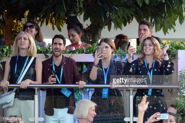 Princess Eugenie of York and Princess Beatrice of York attend Barclaycard Exclusive area at Barclaycard presents British Summer Time Hyde Park on...