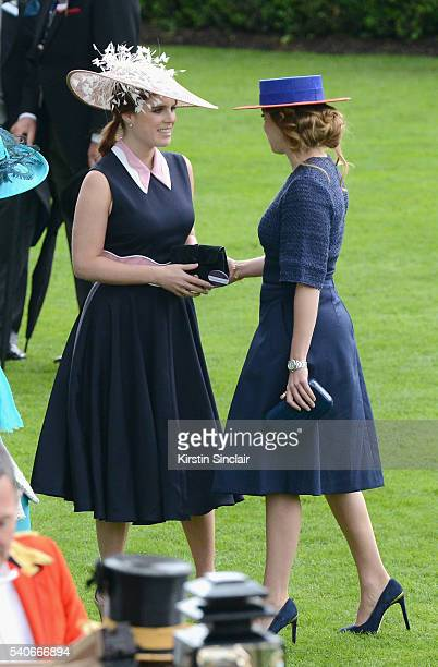Princess Eugenie of York and Princess Beatrice of York attend day 3 of Royal Ascot at Ascot Racecourse on June 16 2016 in Ascot England