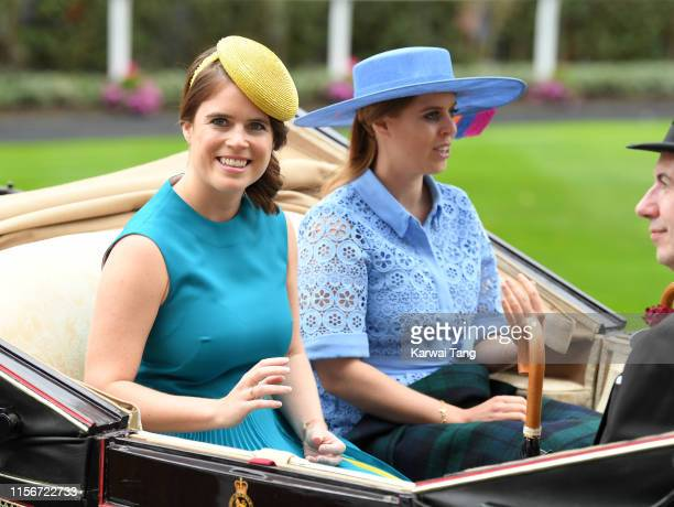 Princess Eugenie of York and Princess Beatrice of York attend day one of Royal Ascot at Ascot Racecourse on June 18, 2019 in Ascot, England.